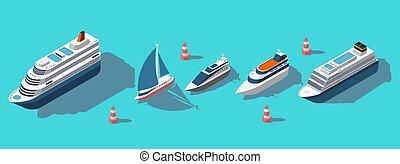 Isometric ferries, yachts, boats, passenger ships vector set
