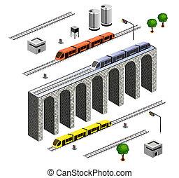 isometric, ferrovia