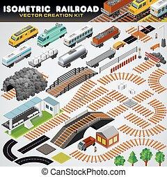 isometric, ferrovia, train., detalhado, 3d, ilustração