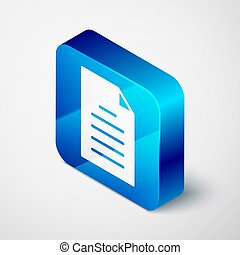 Isometric File document icon isolated on grey background. Checklist icon. Business concept. Blue square button. Vector