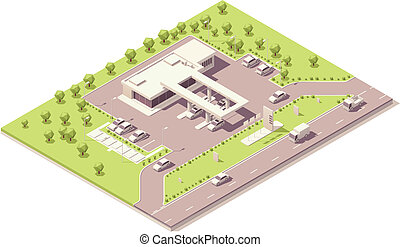 Isometric filling station building