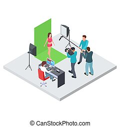 Isometric filming or blogging vector concept. Female model ...