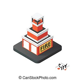 Isometric fire department icon, building city infographic element, vector illustration