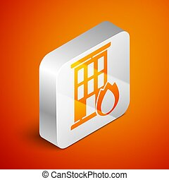 Isometric Fire in burning house icon isolated on orange background. Insurance concept. Security, safety, protection, protect concept. Silver square button. Vector