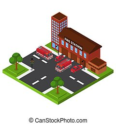 Isometric fire station, emergency department building, red truck rescue service, design, cartoon style vector illustration.