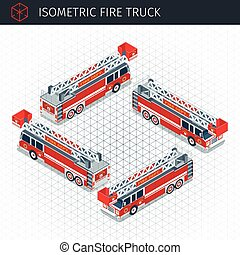 Isometric fire truck. 3d vector transport icon. Highly...