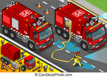 Isometric Firefighter Tank Truck in Front View - Detailed...