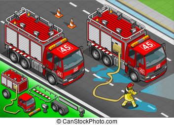 Isometric Firefighter Truck in Front View - Detailed...