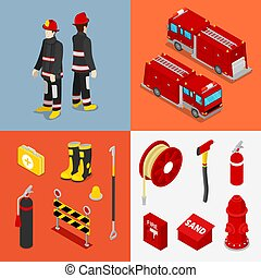 Isometric Fireman. Firefighter with Tank Truck and Equipment. Vector illustration