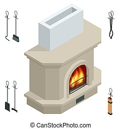 Isometric fireplace of brick, stone isolated on white. Fireplace for the relaxing ambience, and for heating a room. Modern fireplace.