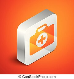 Isometric First aid kit icon isolated on orange background. Medical box with cross. Medical equipment for emergency. Healthcare concept. Silver square button. Vector Illustration