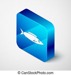 Isometric Fish icon isolated on grey background. Blue square button. Vector