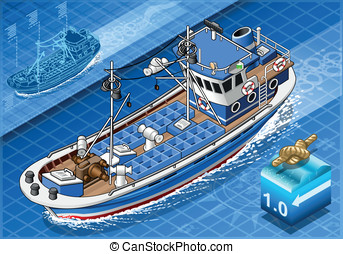 Isometric Fishing Boat in Navigation in Front View -...