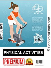 Isometric Fitness Colorful Poster