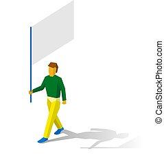 Isometric flag bearer with blank standar on white background...