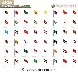 Isometric flag collection, countries of Asia.