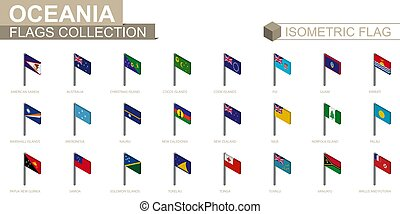 Isometric flag collection, countries of Oceania