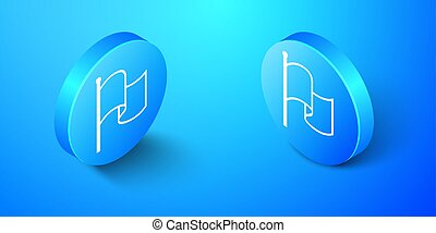 Isometric Flag icon isolated on blue background. Blue circle button. Vector