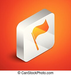 Isometric Flag icon isolated on orange background. Silver square button. Vector Illustration