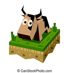 Isometric flat brawn cow on the tile of ground with grass....