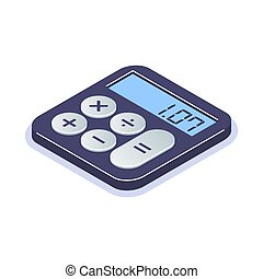 Isometric flat calculator icon. Simple computing machine. ...