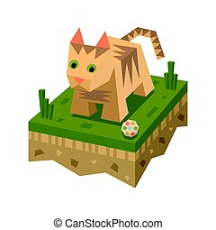 Isometric flat cat on the tile of ground