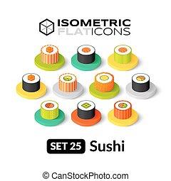 Isometric flat icons set 25