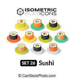 Isometric flat icons set 26