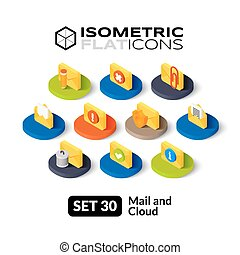 Isometric flat icons set 30 - Isometric flat icons, 3D...