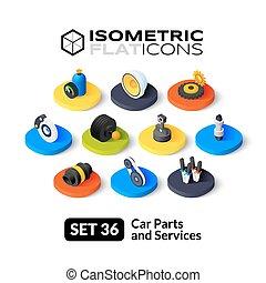 Isometric flat icons set 36
