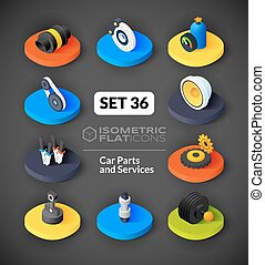 Isometric flat icons set 36 - Isometric flat icons, 3D...