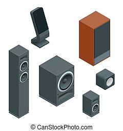 Isometric Flat music speakers audio, loudspeaker bass stereo