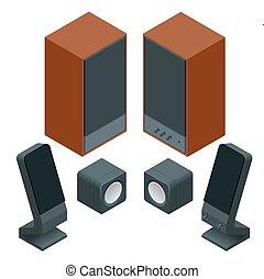 Isometric Flat music speakers audio, loudspeaker bass stereo