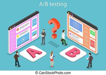 Isometric flat vector concept of AB testing, split test, A-B comparison, web development.