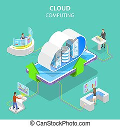 Isometric flat vector concept of cloud computing technology.