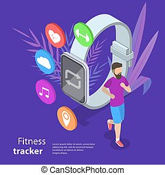 Isometric flat vector concept of fitness tracker, smart watch.