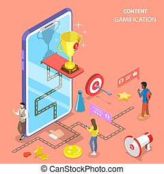 Isometric flat vector concept of gamification, interactive ...