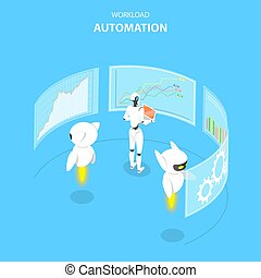 Isometric flat vector concept of workload automation, job...