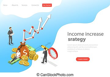 Isometric flat vector landing page template of income increase strategy.