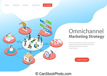 Isometric flat vector landing page template of omnichannel.