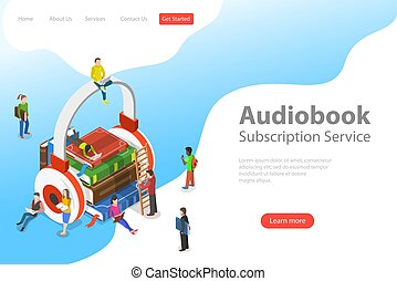 Isometric flat vector landing pate template of audiobook,...
