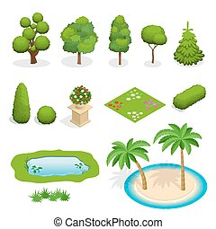 Isometric flat vector trees elements for landscape design....