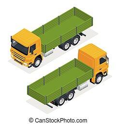 isometric, flatbed, marcar, mockup., isolado, vetorial, caminhão, white., modelo, veículo, branca, mock-up.