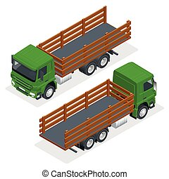 Isometric flatbed truck template isolated on white on white. Vehicle branding mockup. Flatbed truck vector mock-up.
