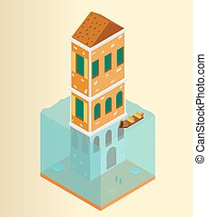 Isometric flooded building and gondola in Venice