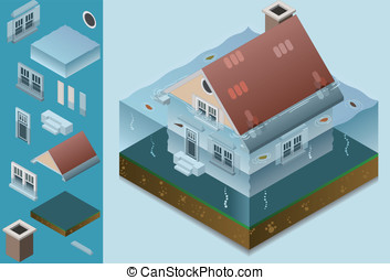 isometric flooded house. Saved in EPS8