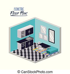 isometric floor plan of home kitchen and dining with...