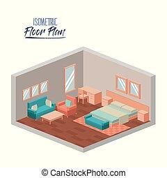 isometric floor plan of hotel bedroom interior colorful silhouette