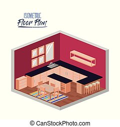 isometric floor plan of kitchen with big worktop and dining...