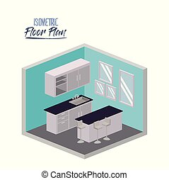 isometric floor plan of kitchen with worktop and cabinet in...